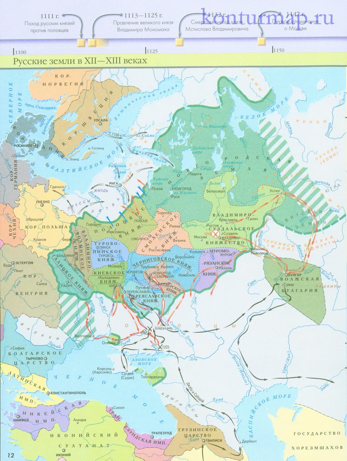 Контурные карты история россии 6 класс скачать бесплатно