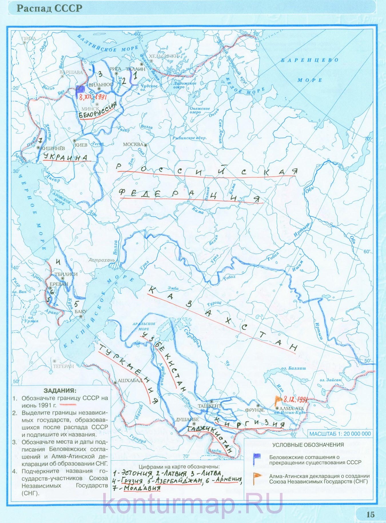 Контурная карта история россии 9 класс ответы