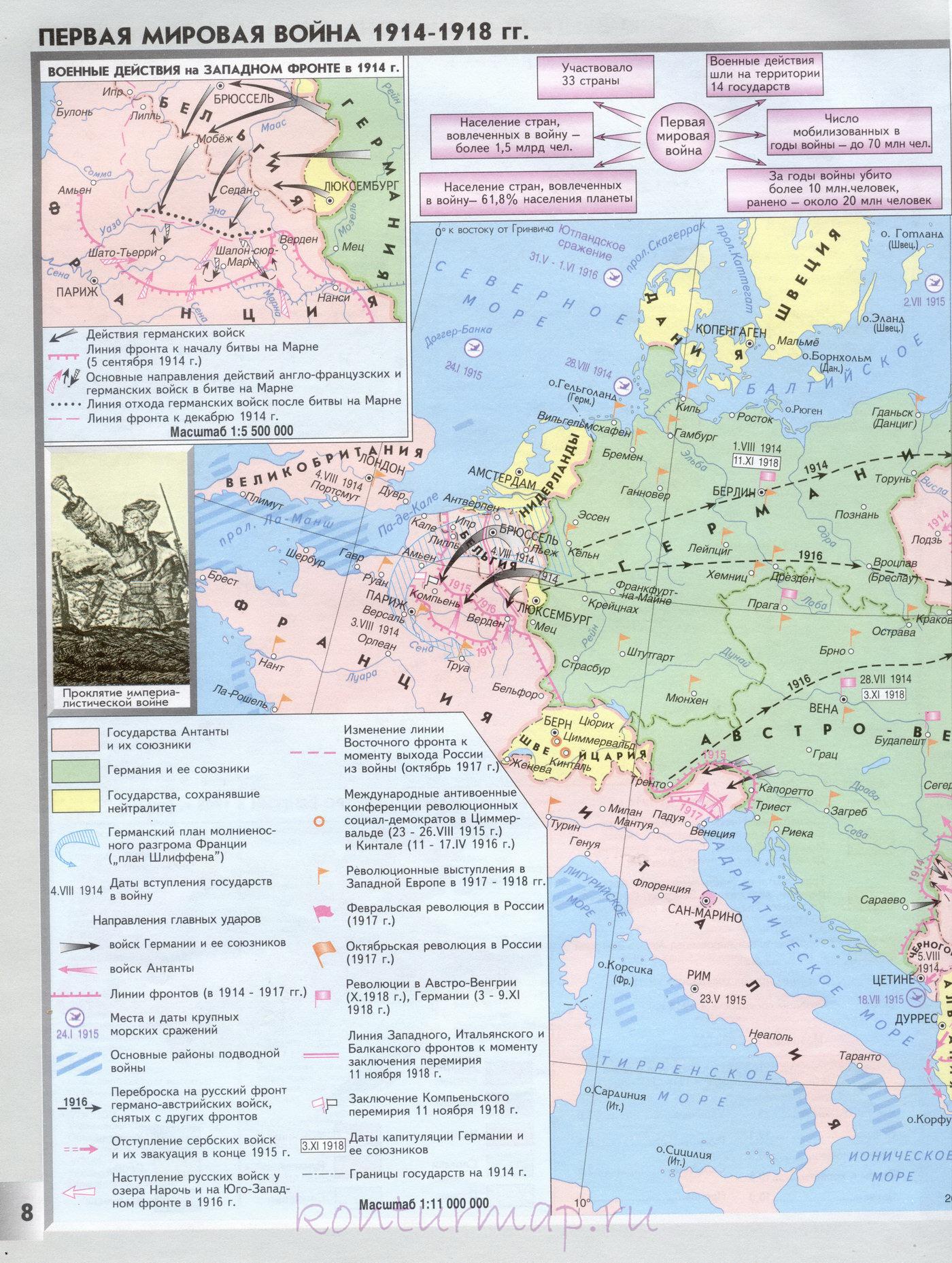 Первая мировая война гдз контурные карты